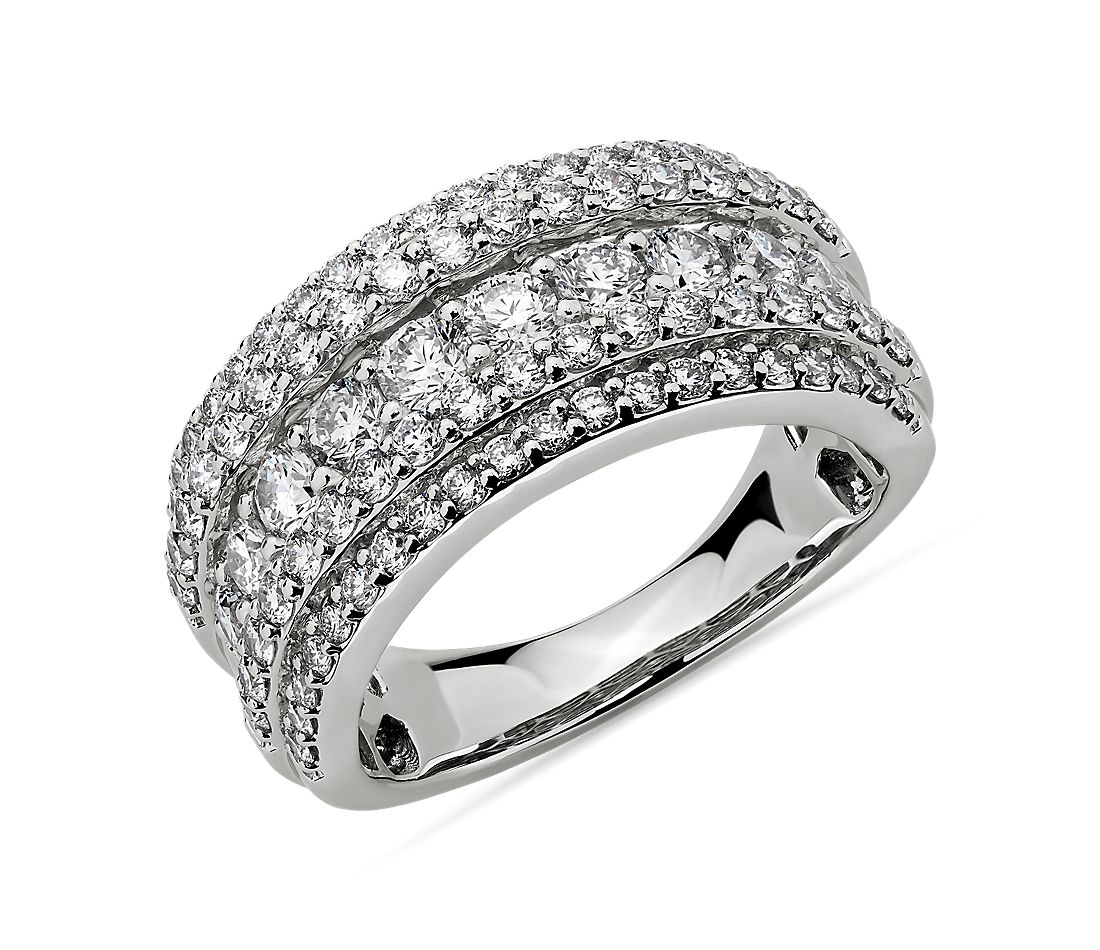 Diamond 5-Row Fashion Ring in 14k White Gold (2 ct. tw.)