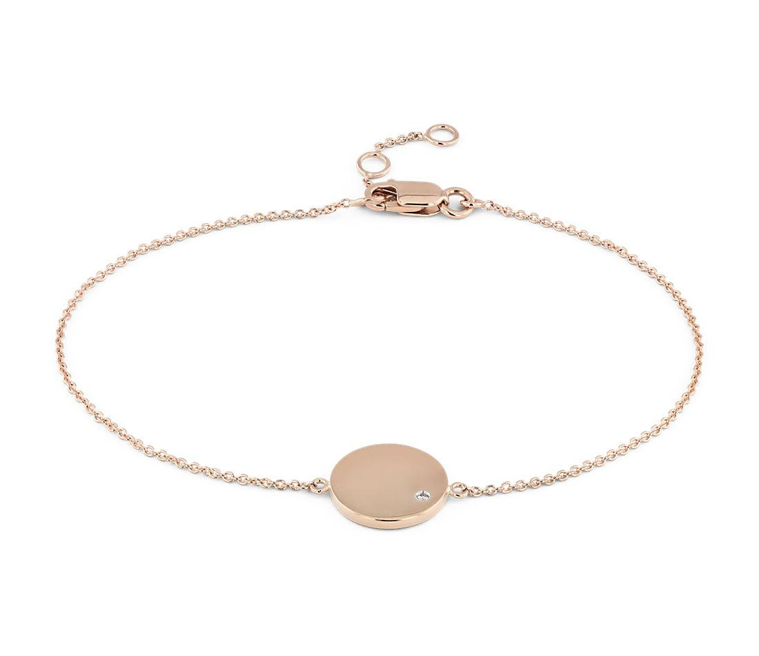 Mini Diamond Accented Engravable Disc Bracelet in 14k Rose Gold