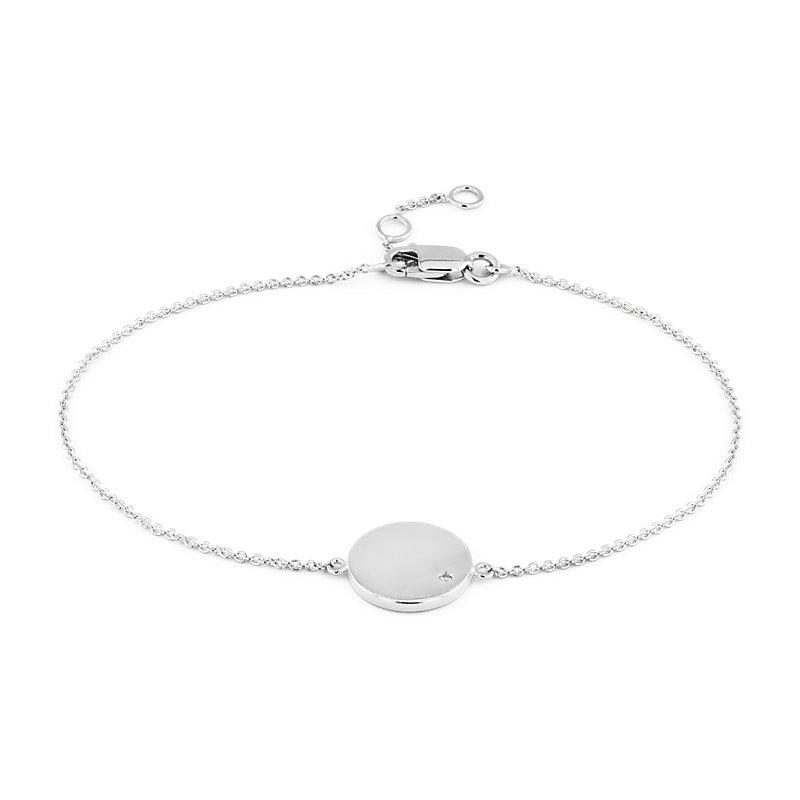 Mini Diamond Accented Engravable Disc Bracelet in 14k White Gold