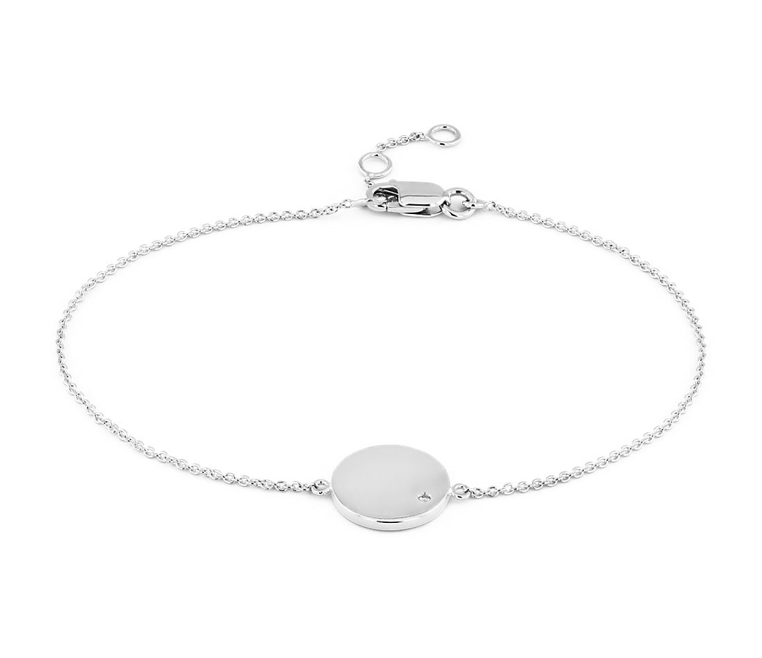 Mini Diamond Accented Engravable Disc Bracelet in 14k White Gold