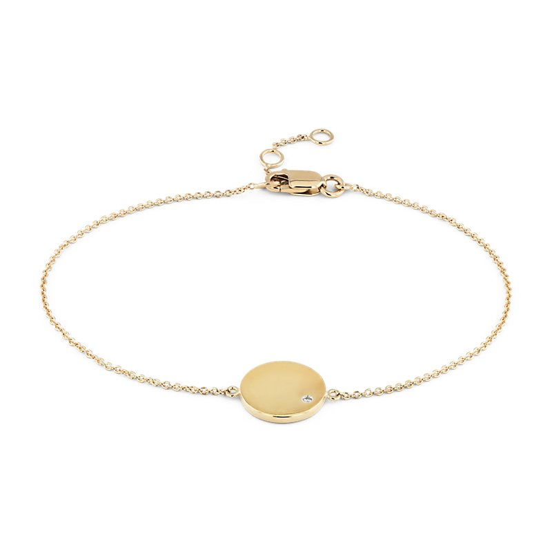Mini Diamond Accented Engravable Disc Bracelet in 14k Yellow Gold