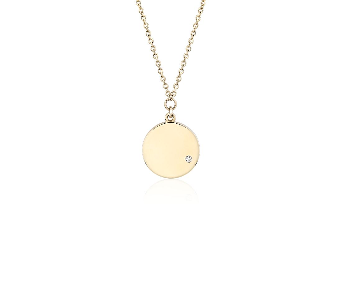 Mini Diamond Accented Engravable Disc Pendant 14k Yellow Gold