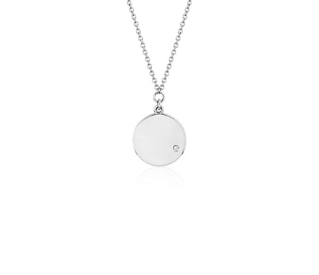 Mini Diamond Accented Engravable Disc Pendant 14k White Gold