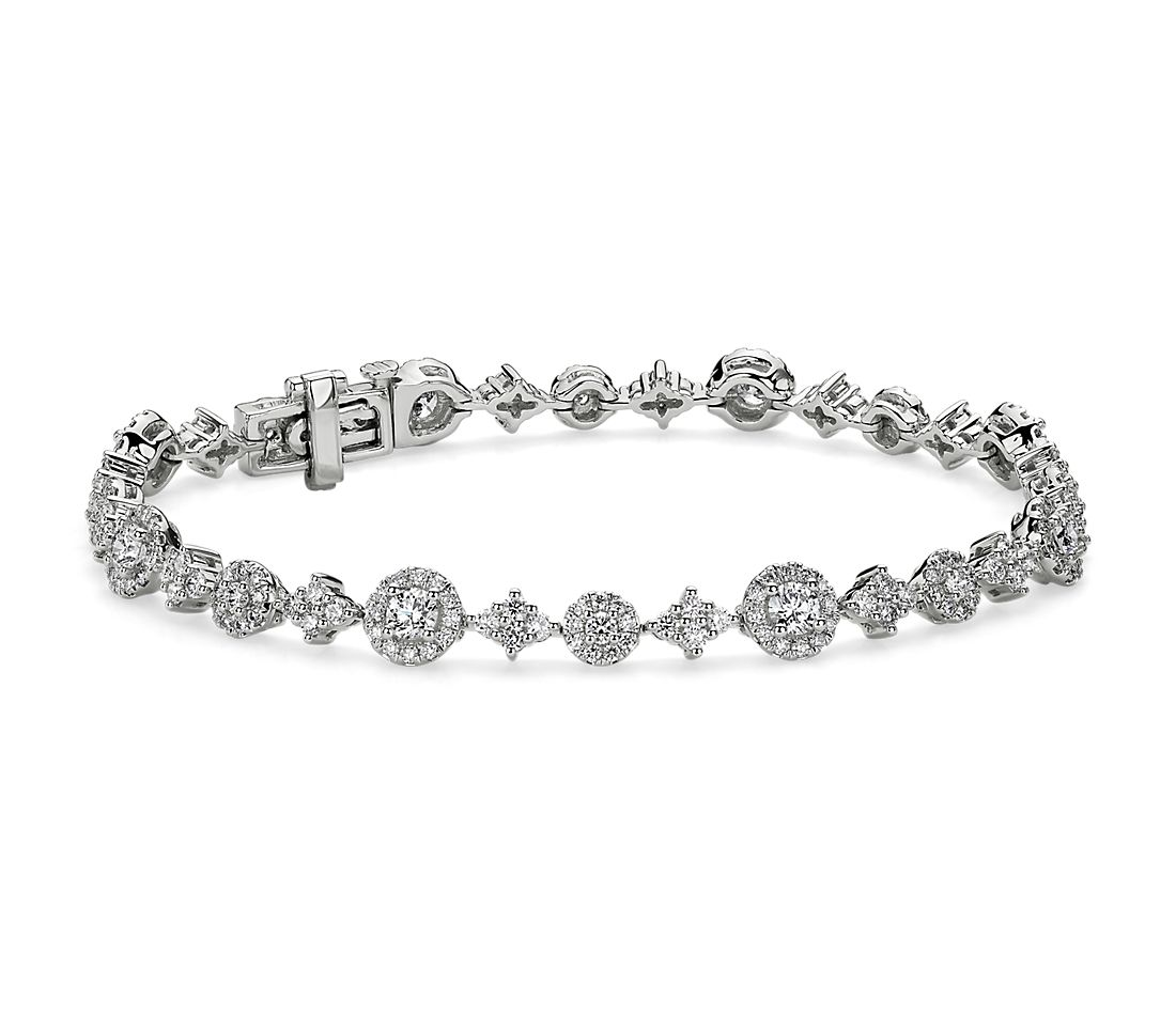 Diamond Alternating Halo and Cluster Tennis Bracelet in 14k White Gold (3 ct. tw.)