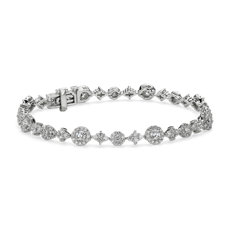 NEW Diamond Alternating Halo and Cluster Tennis Bracelet in 14k White Gold (3 ct. tw.)