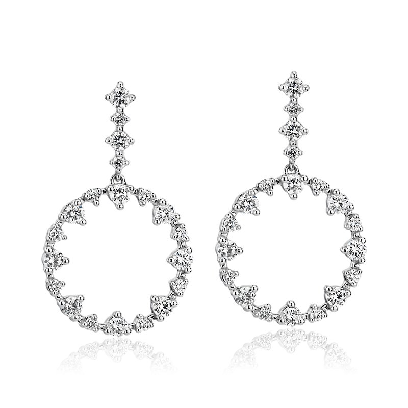 Alternating Size Diamond Circle Drop Earrings in 14k White Gold (