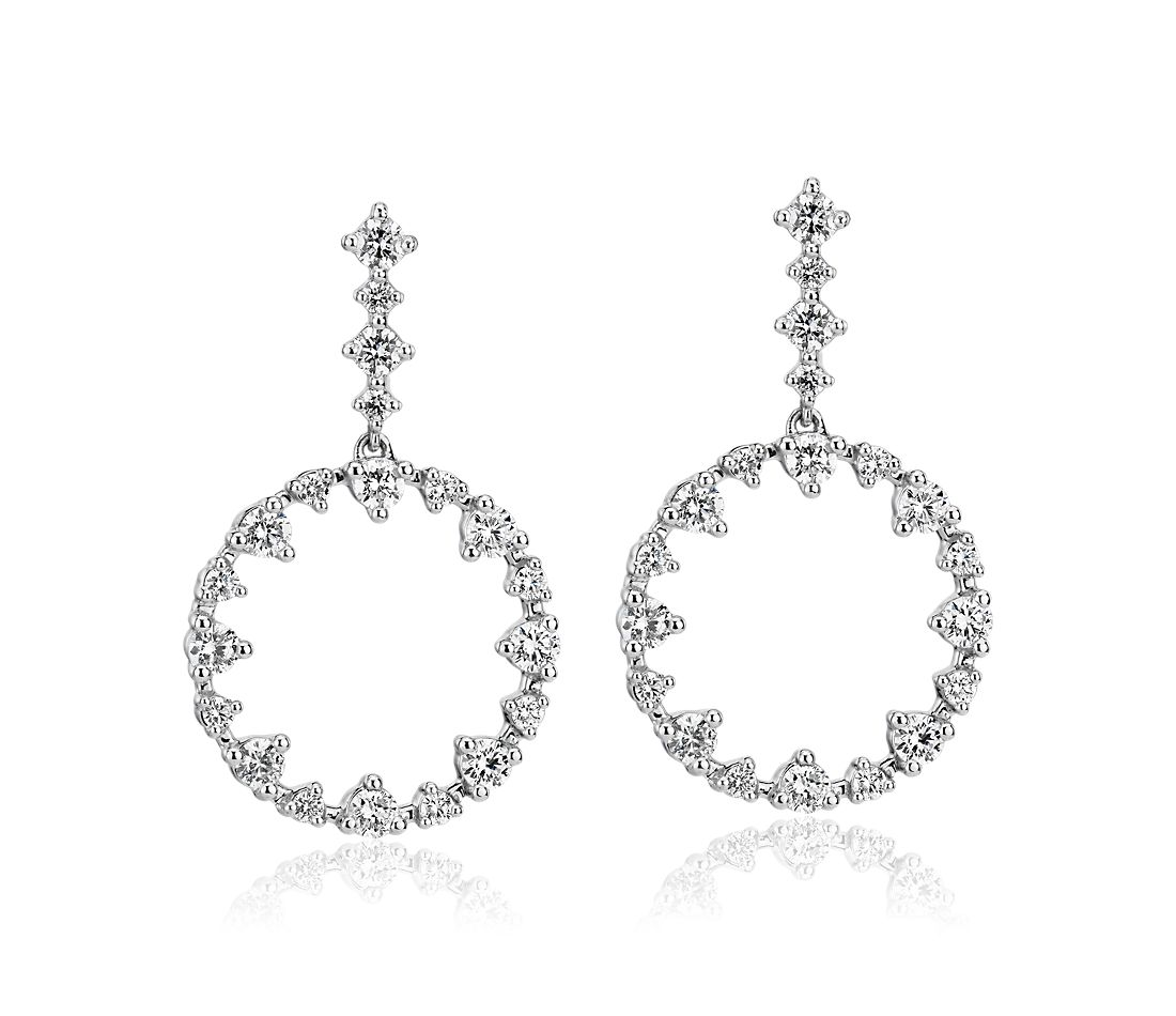 Diamond Alternating Size Diamond Circle Drop Earrings in 14k White Gold (0.96 ct. tw.)
