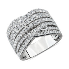 NEW Diamond Alternating Woven Fashion Ring in 14k White Gold  (2 ct. tw.)