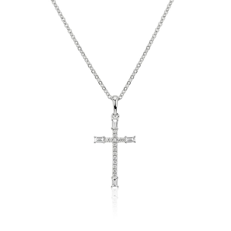 Diamond and Baguette Cross Pendant in 14k White Gold (1/5 ct. tw.