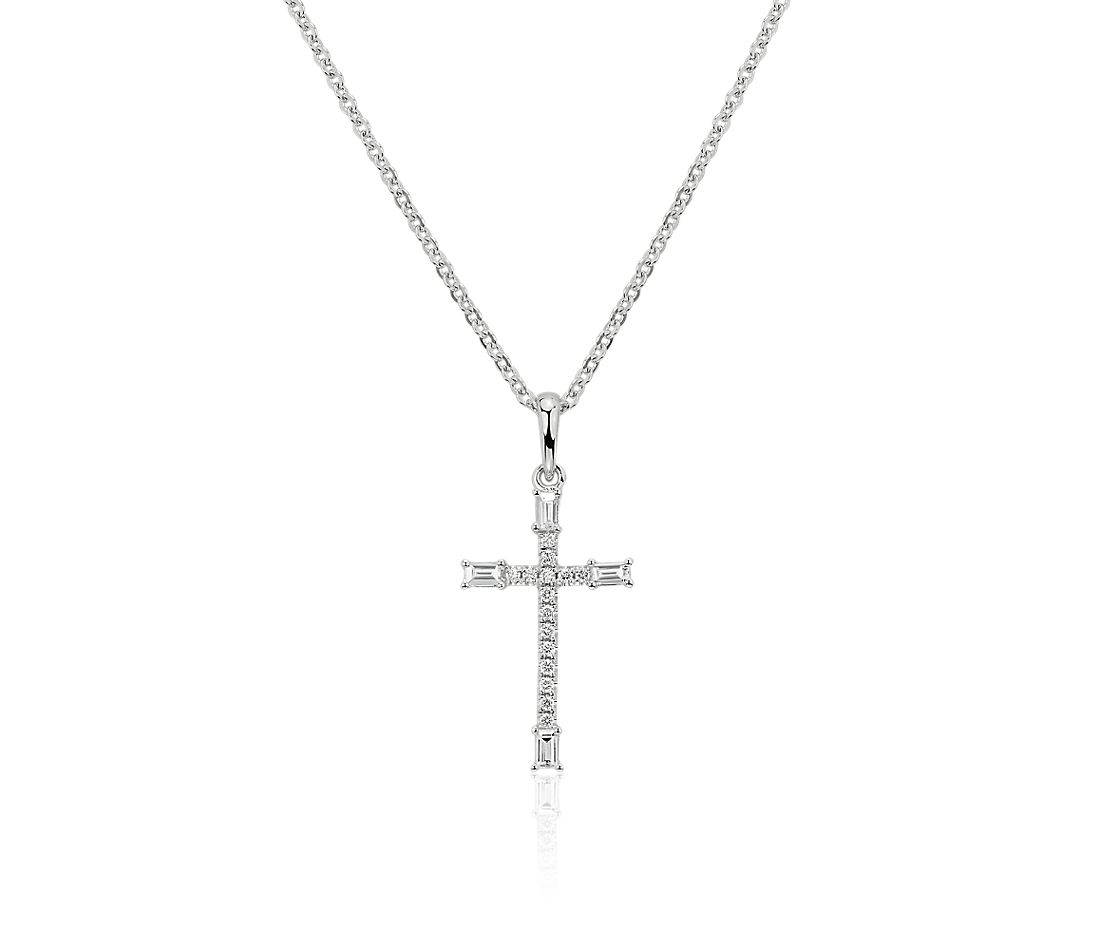 Diamond and Baguette Cross Pendant in 14k White Gold (1/5 ct. tw.)