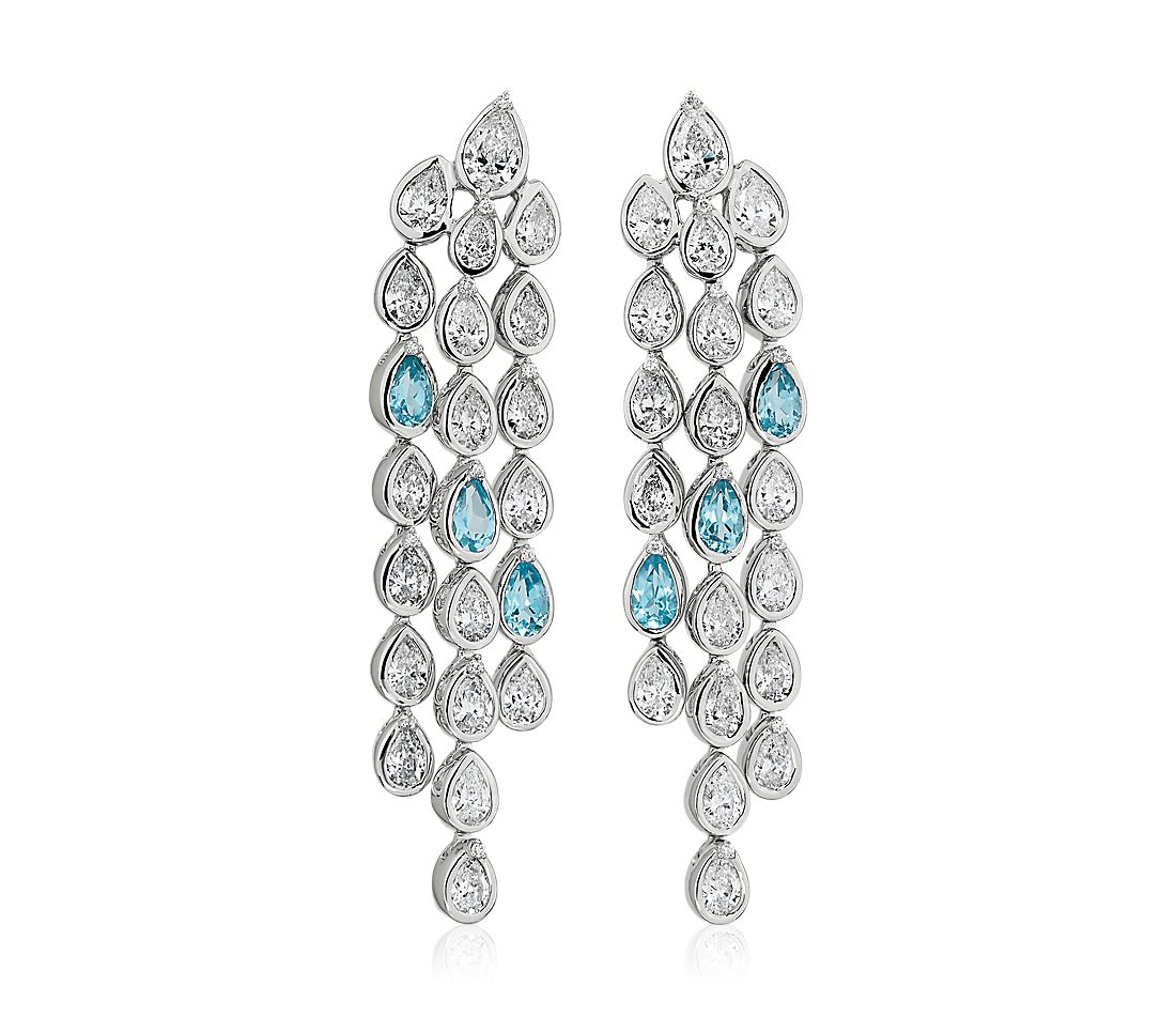 Diamond and Blue Topaz Chandelier Earring in 18k White Gold