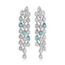 Diamond and Blue Topaz Chandelier Earring in 18k White Gold
