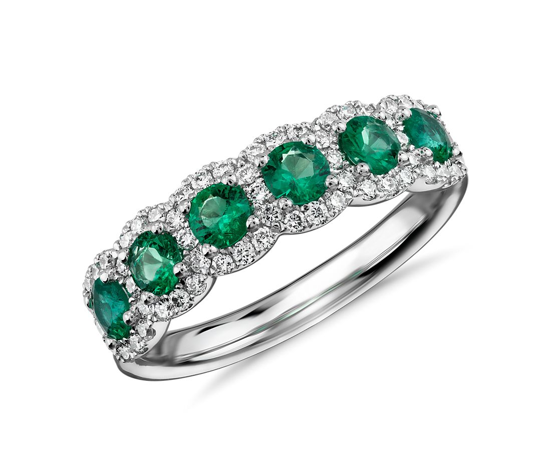 Diamond and Emerald Halo Anniversary Ring in 18k White Gold (1/3 ct. tw.)