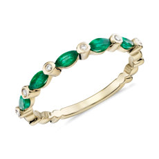 Diamond & Marquise Emerald Ring in 14k Yellow Gold