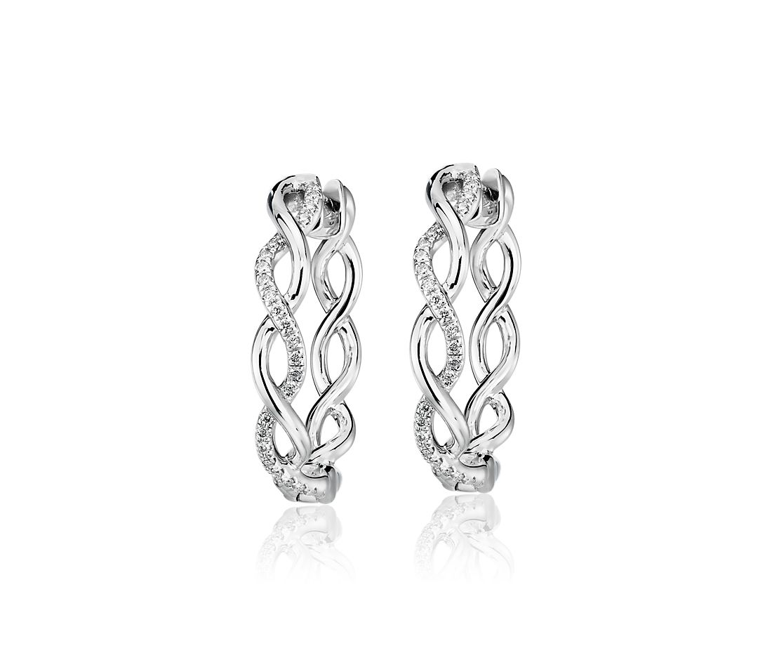 Single Row Diamond Twist Hoop Earrings in 14k White Gold (1/8 ct. tw.)