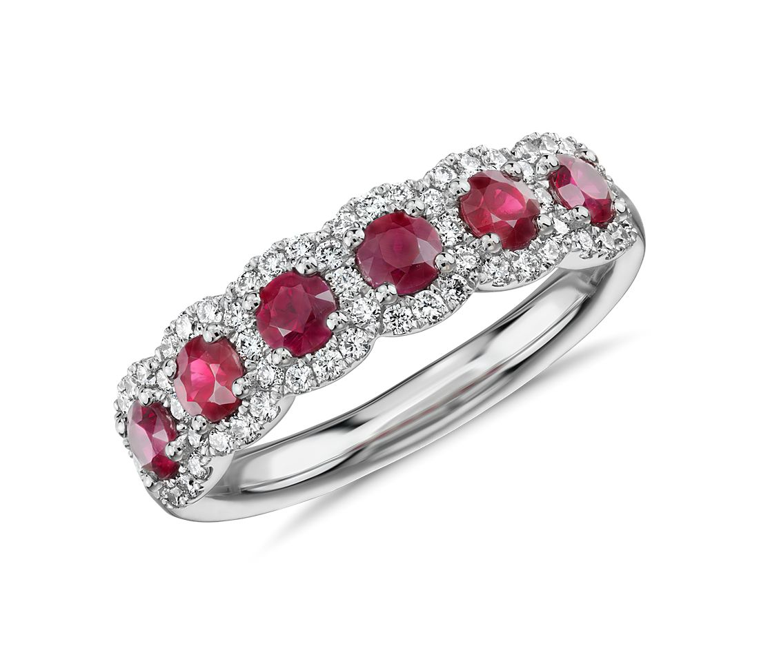 Diamond And Ruby Halo Anniversary Ring In 18k White Gold