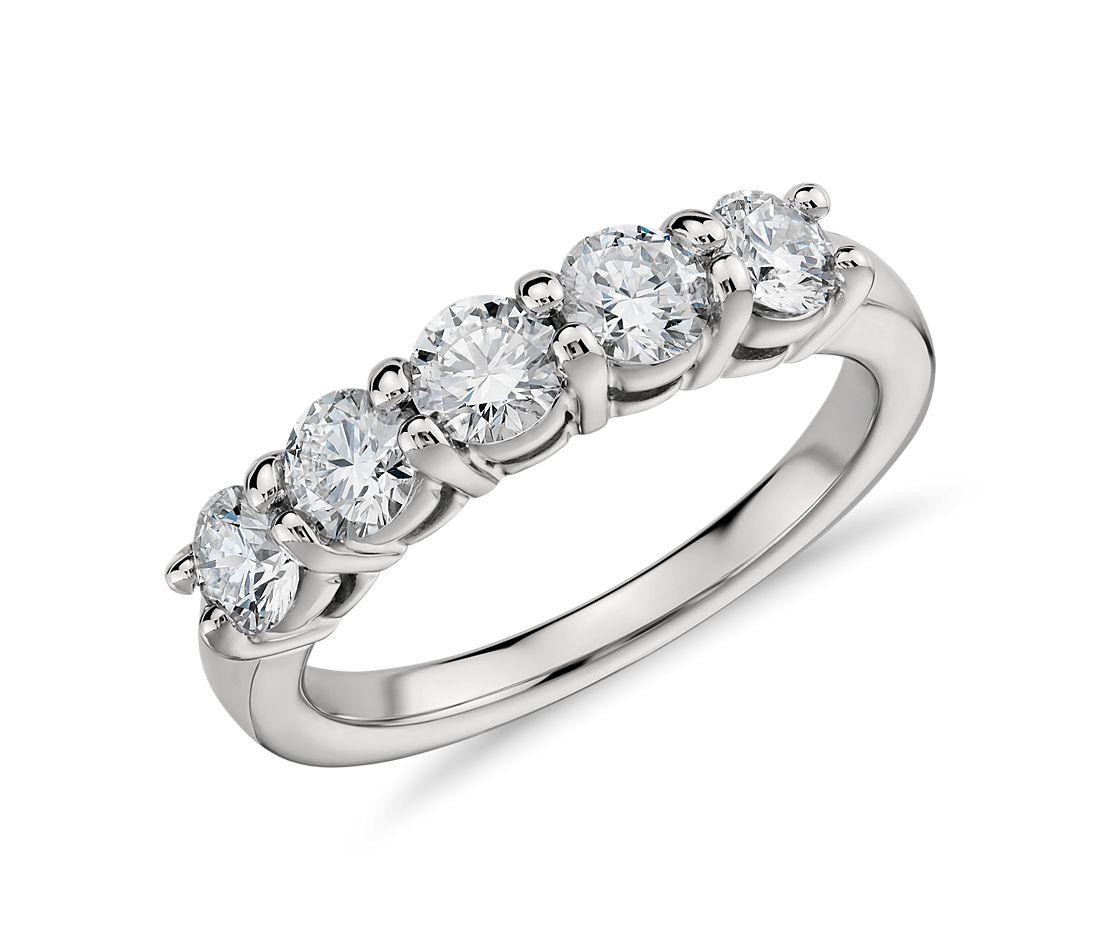 Eternal Five Stone Diamond Ring In Platinum (1 Ct. Tw