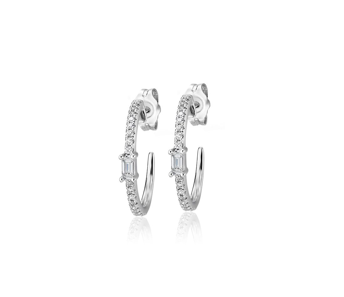 Diamond Baguette Accented Hoop Earrings in 14k White Gold (1/4 ct. tw.)