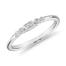 Diamond Baguette and Dot Fashion Ring in 14k White Gold (1/10 ct. tw.)