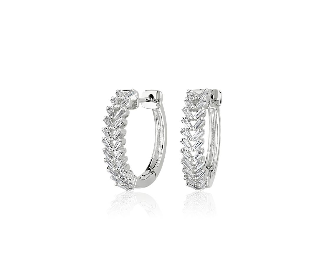 Diamond Baguette Chevron Hoop Earrings in 14k White Gold (3/8 ct. tw.)