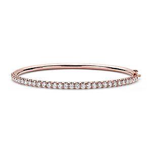 Esclava con bisagra y pavé de diamantes en oro rosado de 18k (2,53 qt. total)