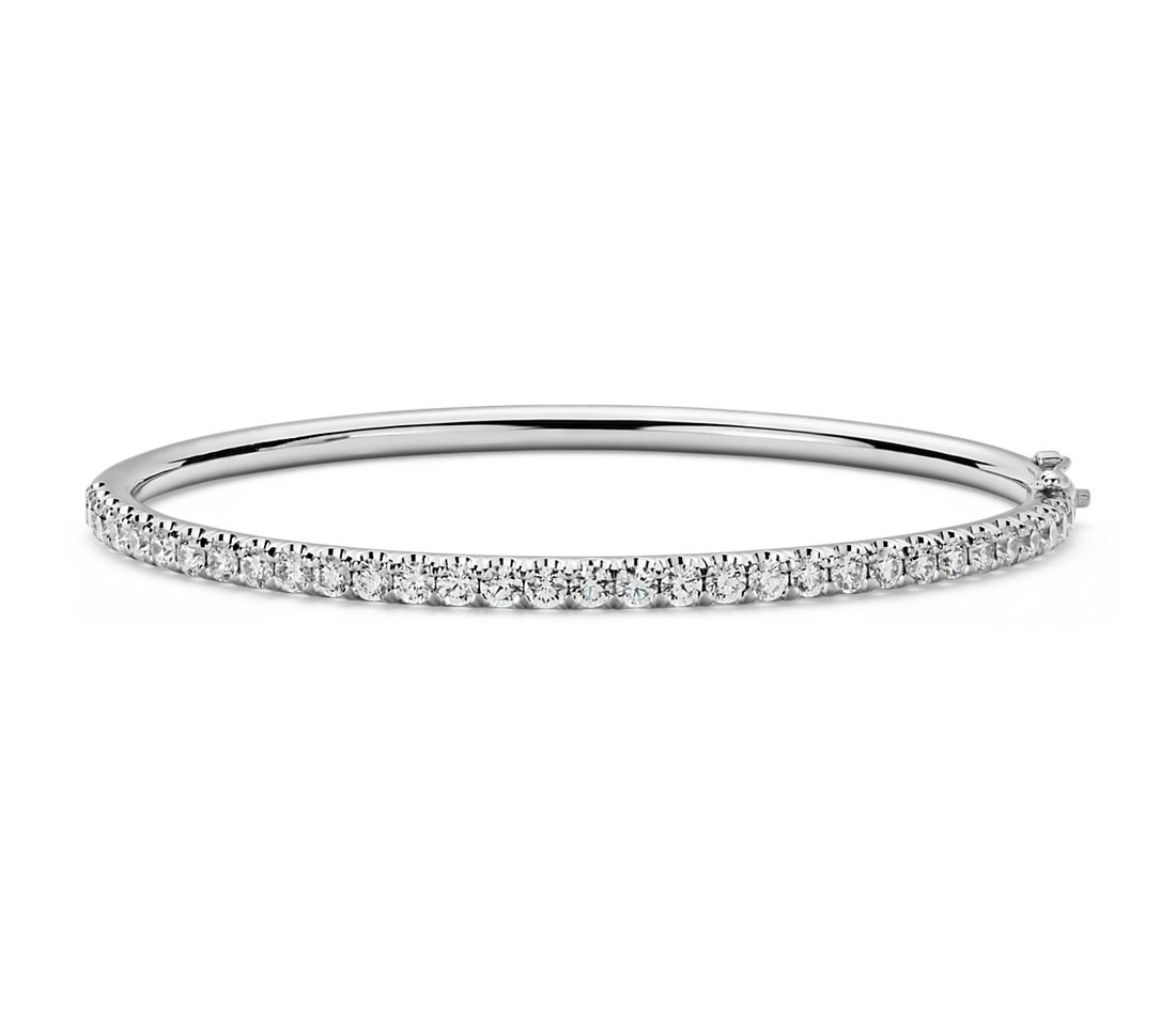 Pav 233 Diamond Hinged Bangle In 18k White Gold 2 48 Ct Tw