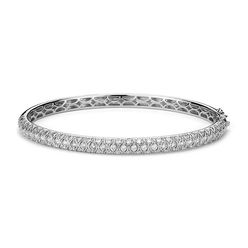 Radiance Pavé Diamond Bangle Bracelet in 18k White Gold (2