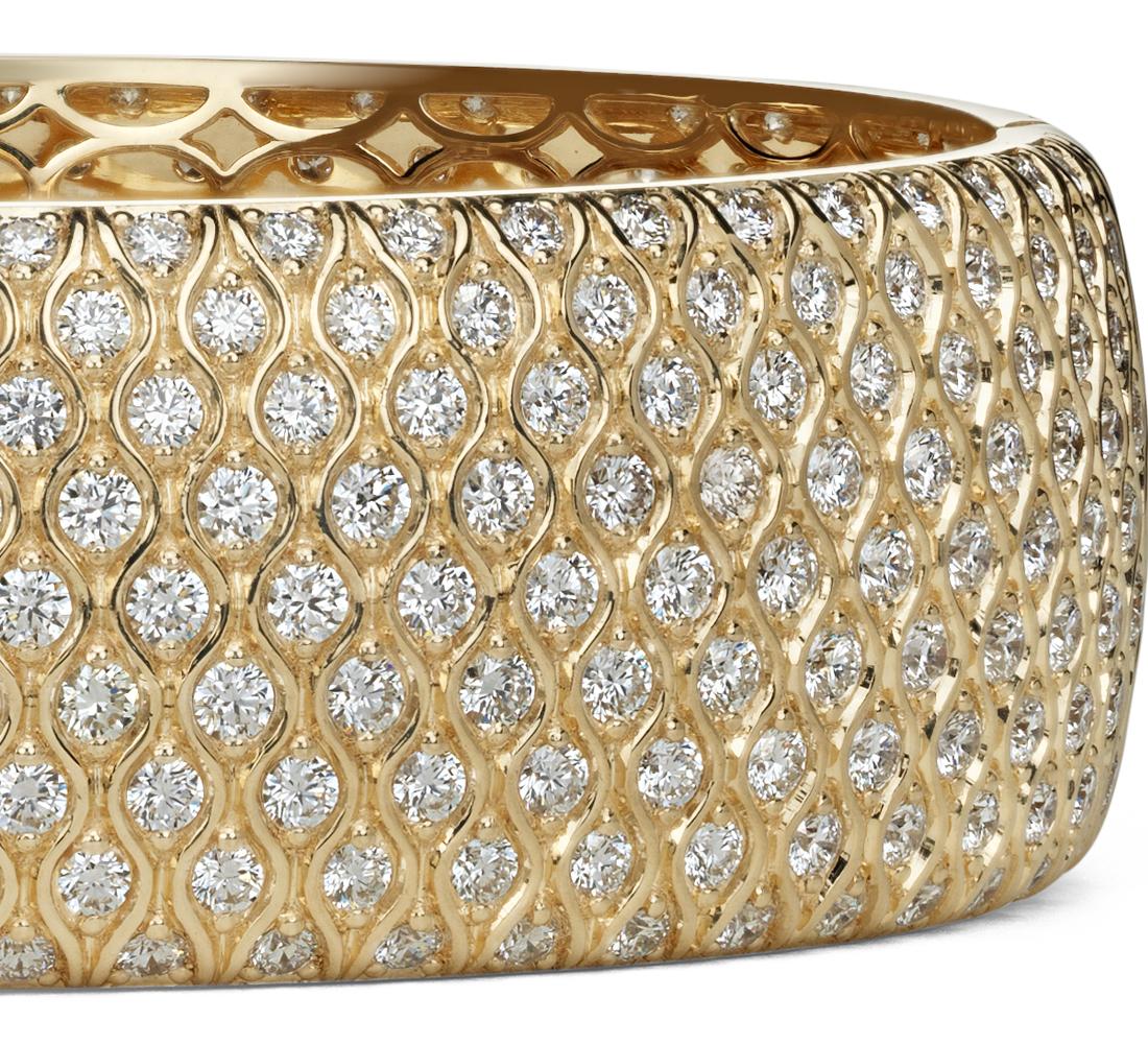Jonc radiance en diamants sertis pavé en or jaune 18carats (16,88ct. pt)