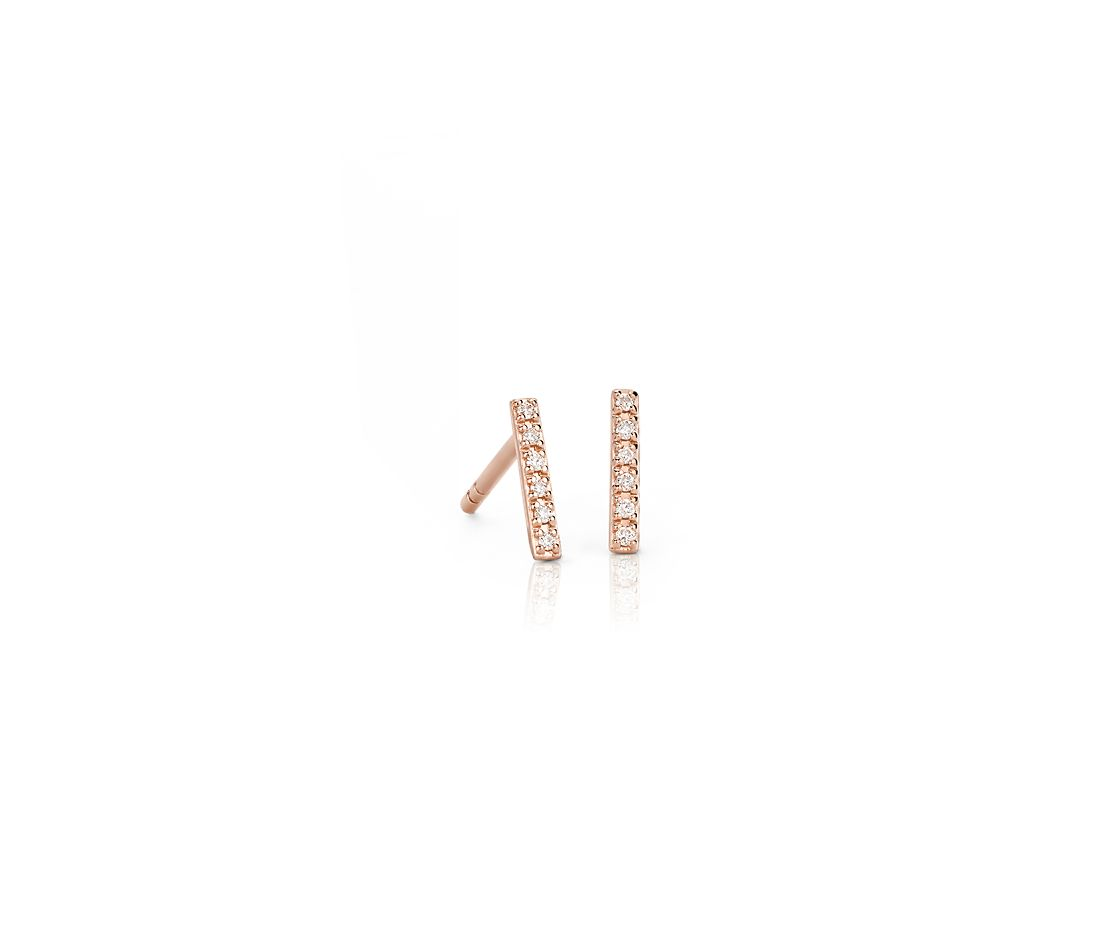 Mini-puces d'oreilles barre diamant en or rose 14 carats