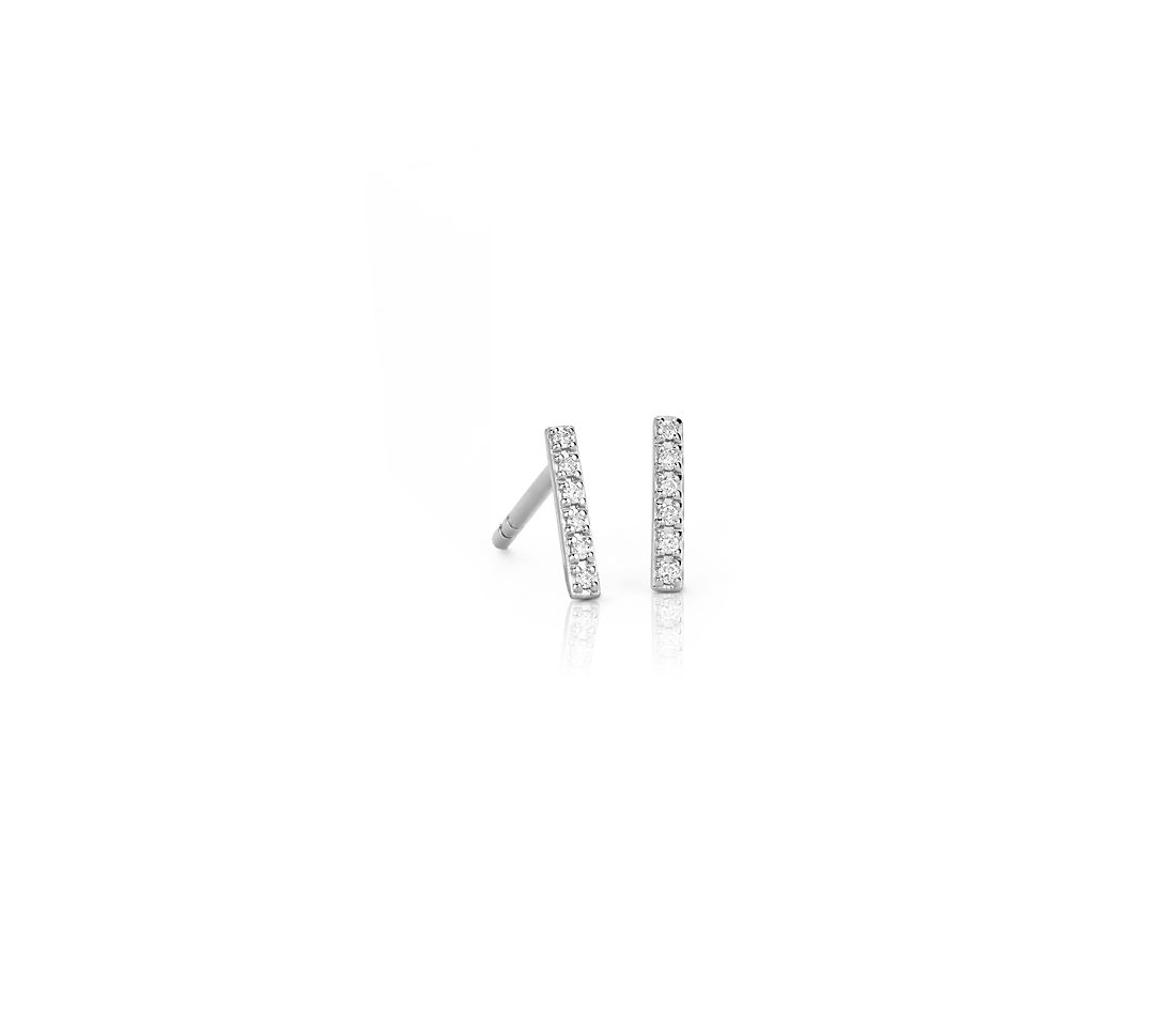 Mini Diamond Bar Stud Earrings in 14k White Gold