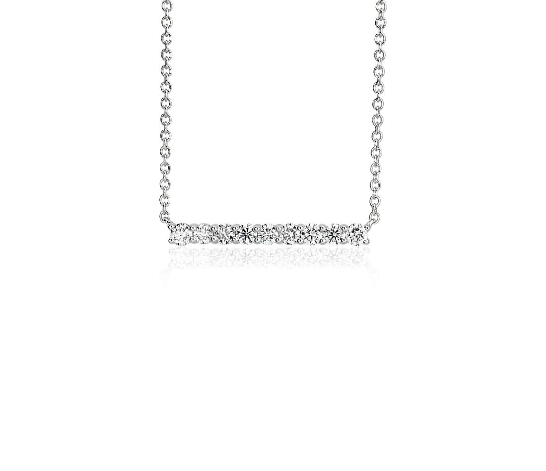 Diamond Bar Necklace in 14k White Gold (0.74 ct. tw.)