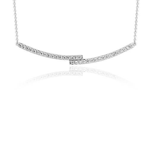 diamond bar necklace in 14k white gold 14 ct tw