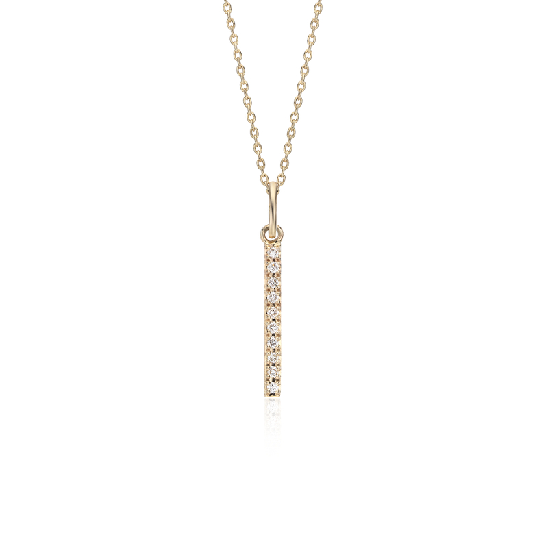 Mini Diamond Vertical Bar Necklace in 14k Yellow Gold