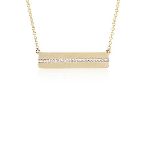 Blue Nile Diamond Bar Drop Necklace in 14k White Gold IZgLo