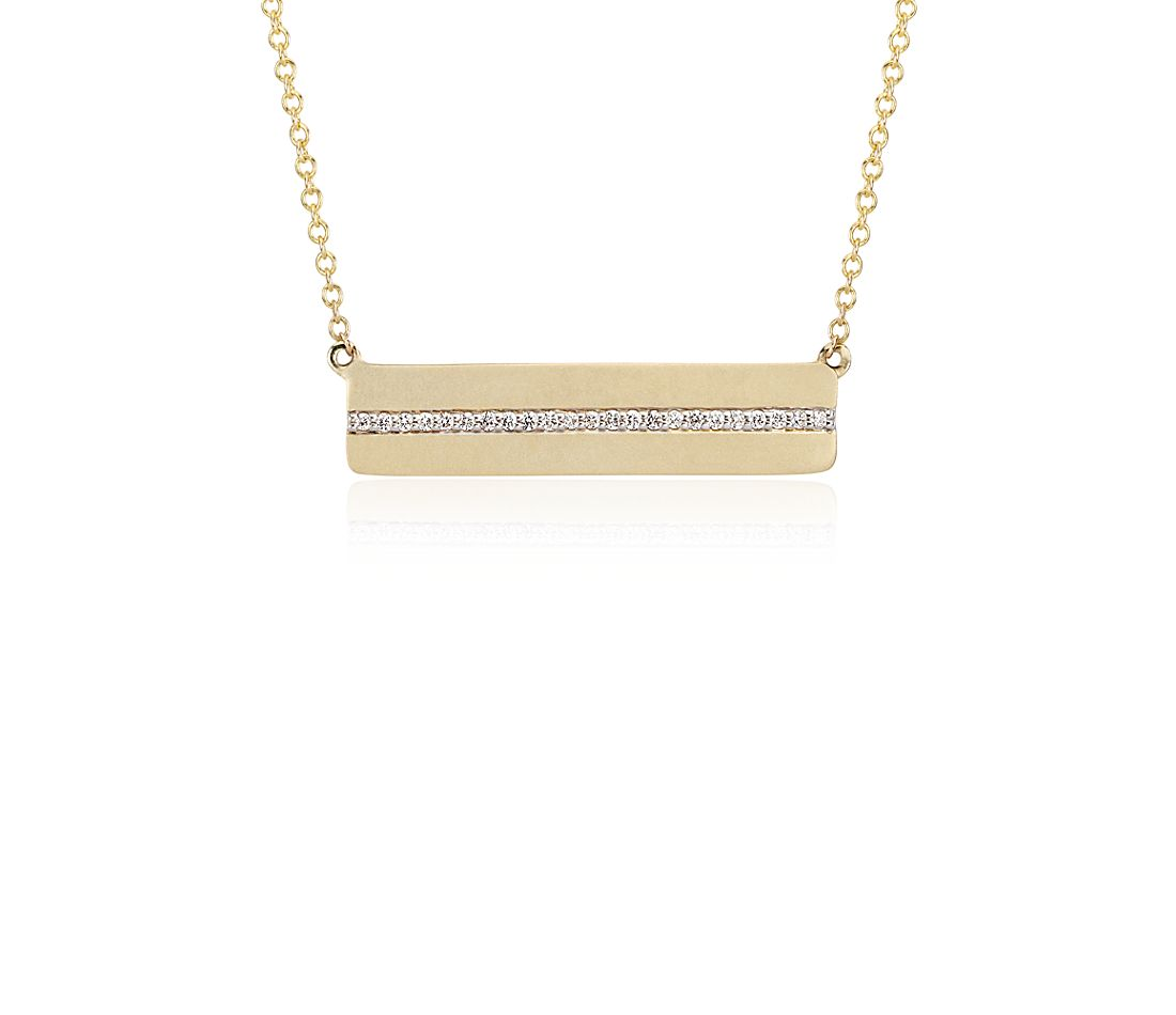 Diamond Bar Necklace In 14k Yellow Gold 1 10 Ct Tw