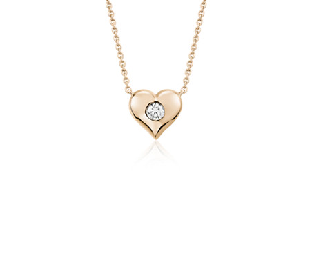 Blue Nile Mini Heart and Diamond Charm Pendant in 14k White Gold (1/20 ct. tw.) VMyALs