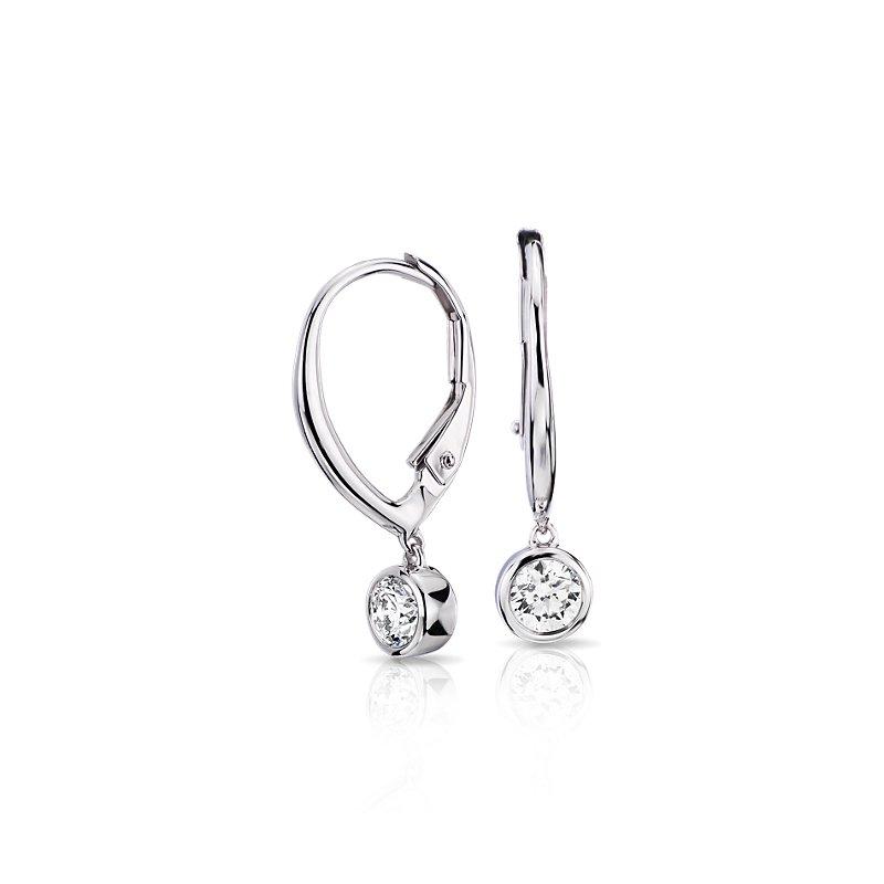 Diamond Bezel Leverback Drop Earring in 14k White Gold (2/5 ct. t