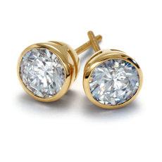 Bezel Cup Earrings in 18k Yellow Gold