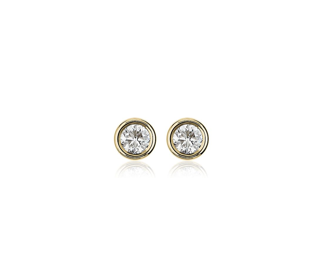 Diamond Bezel Set Stud Earrings in 14k Yellow Gold (3/4 ct. tw.)