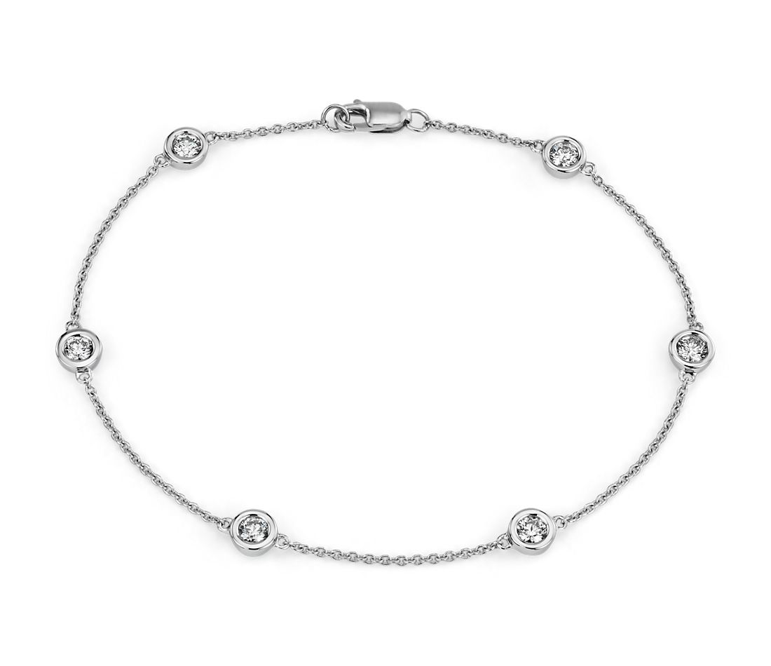 Diamond Bezel Station Bracelet in 14k White Gold (1/2 ct. tw.)