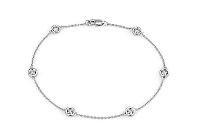Diamond Bezel Station Bracelet in 14k White Gold