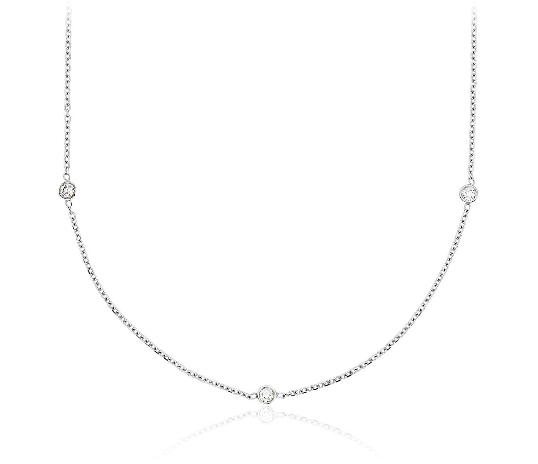 Diamond Bezel Station Necklace in 14k White Gold
