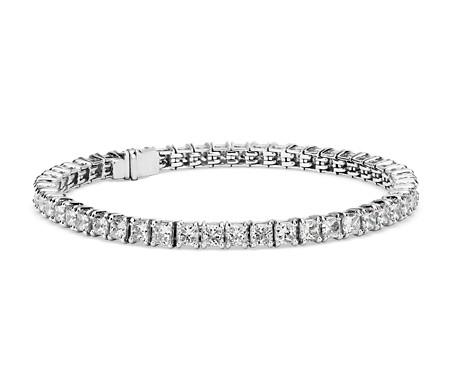 Bracelet tennis diamants taille Princesse, Signature Idéale Blue Nile en platine (10carats, poids total)