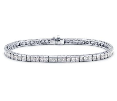 Princess Cut Channel Set Diamond Bracelet in 18k White Gold 6 ct