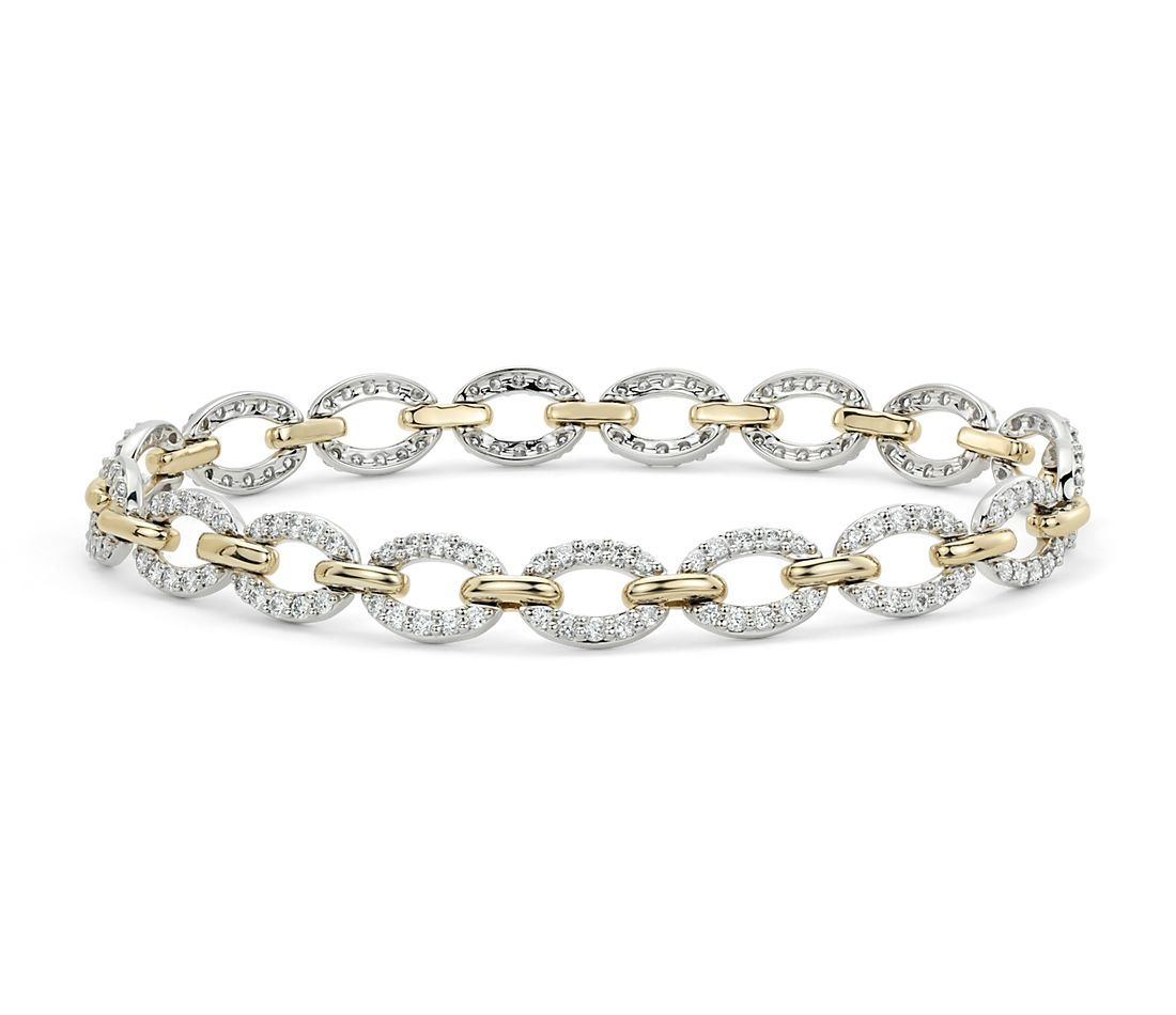 Diamond Oval Link Bracelet in 14k White and Yellow Gold (2 ...