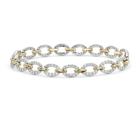 Blue Nile Oval and Marquise Bracelet in 14k Yellow and White Gold ctz8l