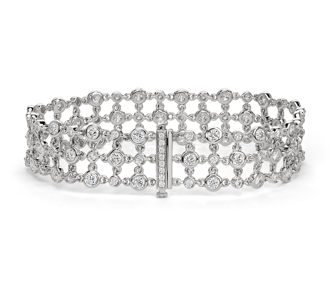 Blue Nile Studio Diamond Floral Triple Line Bracelet in 18k White Gold  (5 ct. tw.)