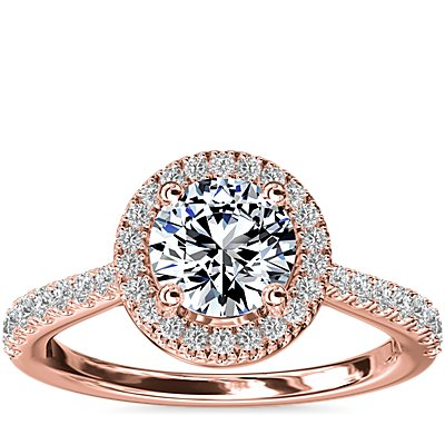 Diamond Bridge Halo Diamond Engagement Ring in 14k Rose Gold (1/3 ct. tw.)