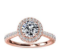 Diamond Bridge Halo Diamond Engagement Ring in 14k Rose Gold (1/3 ct. tw.)