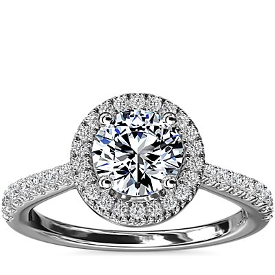 NEW Diamond Bridge Halo Diamond Engagement Ring in 14k White Gold (1/3 ct. tw.)